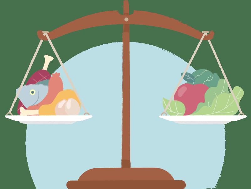 Balanza con alimentos